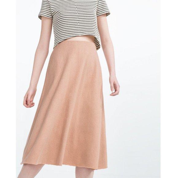Zara Dresses & Skirts - Zara Trafaluc Dusty Rose Tan Midi Skirt